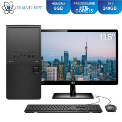 "Computador Completo Intel Core i5 8GB SSD 240GB Monitor 19.5"" LED HDMI Áudio 5.1 canais Quantum Star"