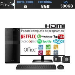 Computador Desktop Completo com Monitor LED HDMI Intel Core i5 8GB HD 500GB com caixas de som mouse e teclado EasyPC Standard Plus